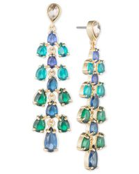 Carolee Blue Gold-tone Cascading Stone Drop Earrings