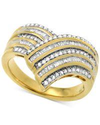 Macy's | Metallic Diamond V Fancy Statement Ring (1/2 Ct. T.w.) In 14k Gold-plated Sterling Silver | Lyst