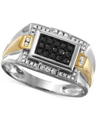Macy's | Gray Men's Diamond Ring (3/8 Ct. T.w.) In 10k White Gold With 10k Gold Accents for Men | Lyst