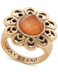 Lucky Brand | Metallic Gold-tone Flower Statement Ring | Lyst
