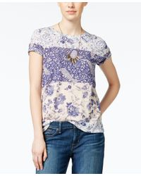 Lucky Brand | Blue Short-sleeve Mixed-print T-shirt | Lyst