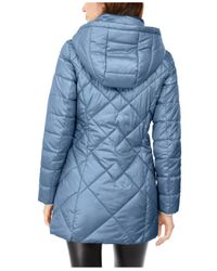 Marc New York Blue Diamond Quilt Hooded Puffer Coat