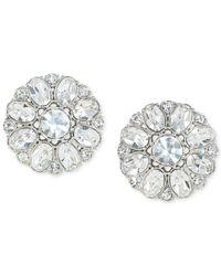 Carolee Metallic Silver-tone Crystal Button Clip-on Earrings