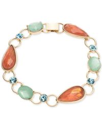 Anne Klein - Metallic Gold-tone Multi-crystal Link Bracelet - Lyst