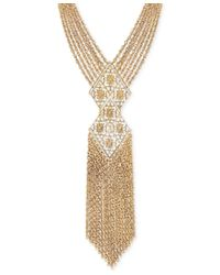 2028 - Metallic Gold-tone Multi-chain Decorative Tassel Statement Necklace - Lyst