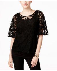 Alfani Black Prima Layered Crochet Top, Only At Macy's