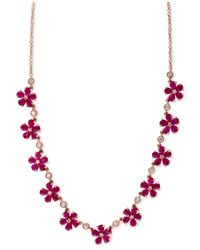 Effy Collection - Pink Ruby (13 Ct. T.w.) And Diamond (1/2 Ct. T.w.) Collar Necklace In 14k Rose Gold - Lyst