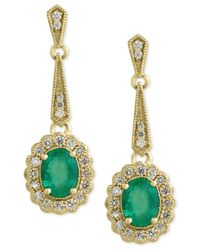 Effy Collection   Green Brasilica By Effy Emerald (2-1/4 Ct. T.w.) And Diamond (3/4 Ct. T.w.) Flower Drop Earrings In 14k Gold   Lyst