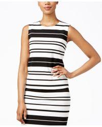Calvin Klein | White Sleeveless Striped Shell | Lyst