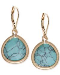 Lonna & Lilly - Metallic Gold-tone Blue Stone Drop Earrings - Lyst