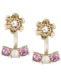 Lonna & Lilly - Gold-tone Purple And Clear Crystal Flower Front-back Earrings - Lyst