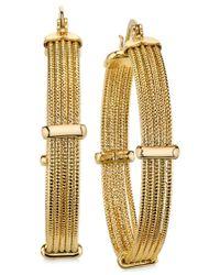2028   Metallic Gold-tone Textured Multi-row Hoop Earrings   Lyst