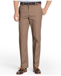 Izod | Brown American Straight-fit Flat Front Wrinkle-free Chino Pants for Men | Lyst