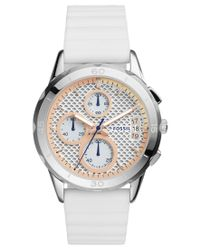Fossil | Women's Chronograph Modern Pursuit White Silicone Strap Watch 39mm Es4024 | Lyst