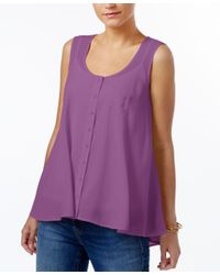 Style & Co. | Purple Swing Sleeveless Blouse, Only At Macy's | Lyst