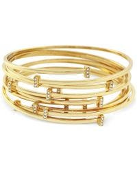 Vince Camuto - Metallic Set Of 7 Gold-tone Pave Bar Bangle Bracelets - Lyst