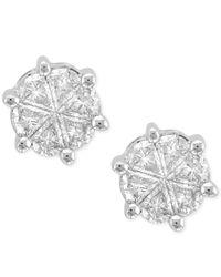 Macy's | Metallic Diamond Petal Stud Earrings (3/4 Ct. T.w.) In 14k White Gold | Lyst