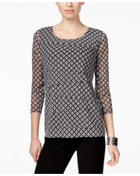 Alfani | White Petite Geo-print Tiered Top, Only At Macy's | Lyst