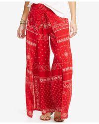 Denim & Supply Ralph Lauren Red Bandanna Gauze Wide-leg Pant