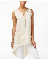August Silk Multicolor Linen High-low Tunic