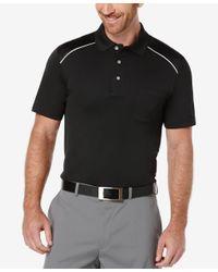 PGA TOUR - Black Men's Debossed Argyle-trim Golf Polo for Men - Lyst
