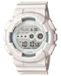 G-Shock | Men's Digital Whiteout White Strap Watch 55x51mm Gd100ww-7s for Men | Lyst