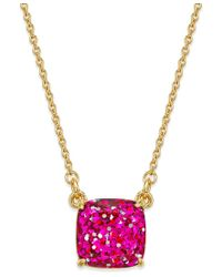 Kate Spade | Metallic 12k Gold-plated Pink Glitter Pendant Necklace | Lyst