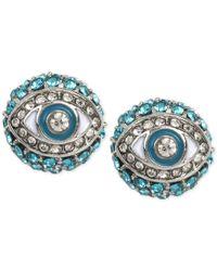 Betsey Johnson | Silver-tone Blue Crystal Eye Stud Earrings | Lyst