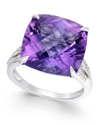 Macy's | Metallic Amethyst (13-1/2 Ct. T.w.) And Diamond (1/8 Ct. T.w.) Statement Ring In 14k White Gold | Lyst