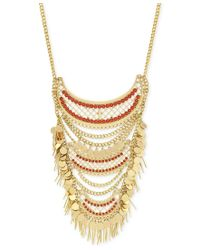 BCBGeneration - Metallic Gold-tone Stone, Disc And Fringe Statement Necklace - Lyst
