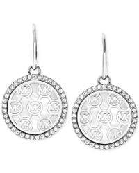 Michael Kors | Metallic Crystal-framed Logo Disc Drop Earrings | Lyst