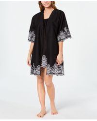Charter Club Black Embroidered Woven Cotton Chemise Nightgown And Wrap Robe Set, Created For Macy's