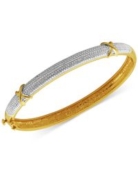 Macy's | Metallic Diamond Accent X Bangle Bracelet In Silver-plated Bronze And 18k Rose Gold Over Silver-plated Bronze | Lyst