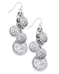 Macy's - Metallic Silver-tone Coin-inspired Shaky Drop Earrings - Lyst