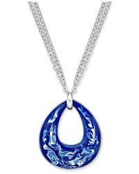 Charter Club | Blue Gold-tone Enamel Swirl Pendant Necklace | Lyst