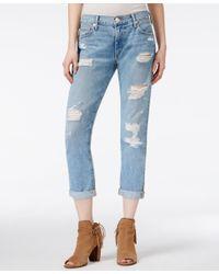 True Religion - Audrey Ripped Slim Boyfriend Light Blue Wash Jeans - Lyst