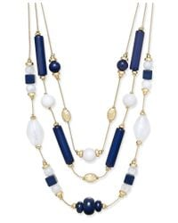 INC International Concepts - Blue Gold-tone Navy And White Beaded Multi-row Layer Necklace, Only At Macy's - Lyst