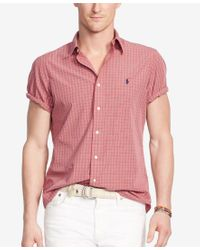 Polo Ralph Lauren - Red Men's Short-sleeve Checked Shirt for Men - Lyst
