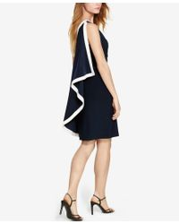 Lauren by Ralph Lauren - Blue One-shoulder Cape Dress - Lyst