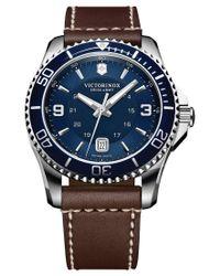 Victorinox Blue Men's Swiss Maverick Brown Leather Strap Watch 43mm 249106 for men