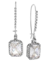 Betsey Johnson | Metallic Silver-tone Crystal And Pave Square Drop Earrings | Lyst