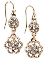 2028 | Metallic Gold-tone Crystal Flower Double Drop Earrings, A Macy's Exclusive Style | Lyst