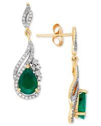 Macy's | Multicolor Emerald (2-5/8 Ct. T.w.) And Diamond (1/3 Ct. T.w.) Drop Earrings In 14k Gold | Lyst