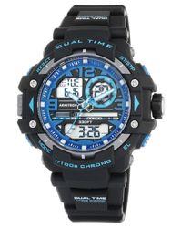 Armitron Blue Men's Analog-digital Chronograph Black Resin Bracelet Watch 50mm 20-5062blu for men