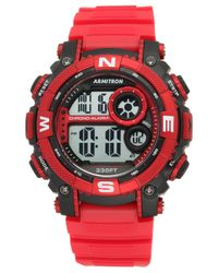 Armitron | Men's Digital Chronograph Red Strap Watch 54mm 40-8284rdbk for Men | Lyst