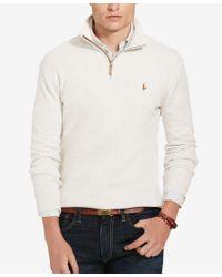Polo Ralph Lauren | Natural Half-Zip Cotton Sweater for Men | Lyst