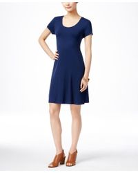 Style & Co.   Blue Petite Short-sleeve A-line Dress, Only At Macy's   Lyst