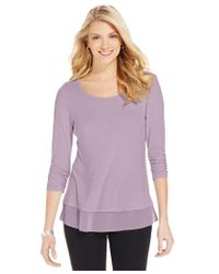 Style & Co.   Purple Petite Chiffon-hem Top, Only At Macy's   Lyst
