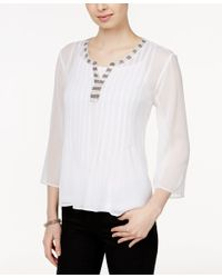 Style & Co. - Multicolor Embellished Pleated Blouse, Only At Macy's - Lyst