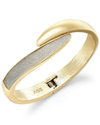 ABS By Allen Schwartz | Metallic Gold-tone Glitter Bypass Bangle Bracelet | Lyst